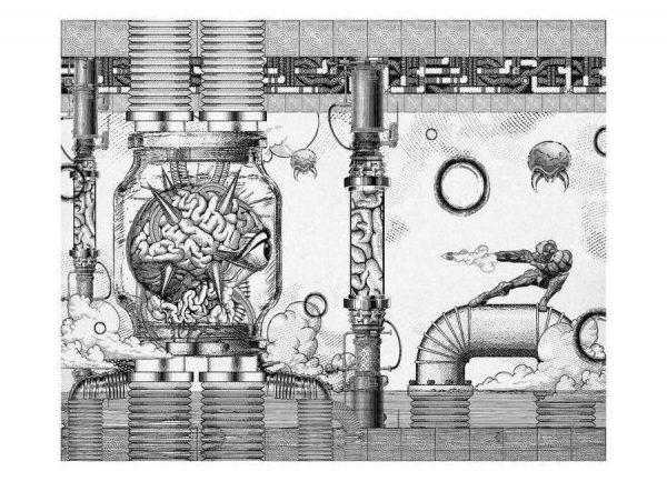 Metroid Mother Brain Vintage Scene Leinwandbild