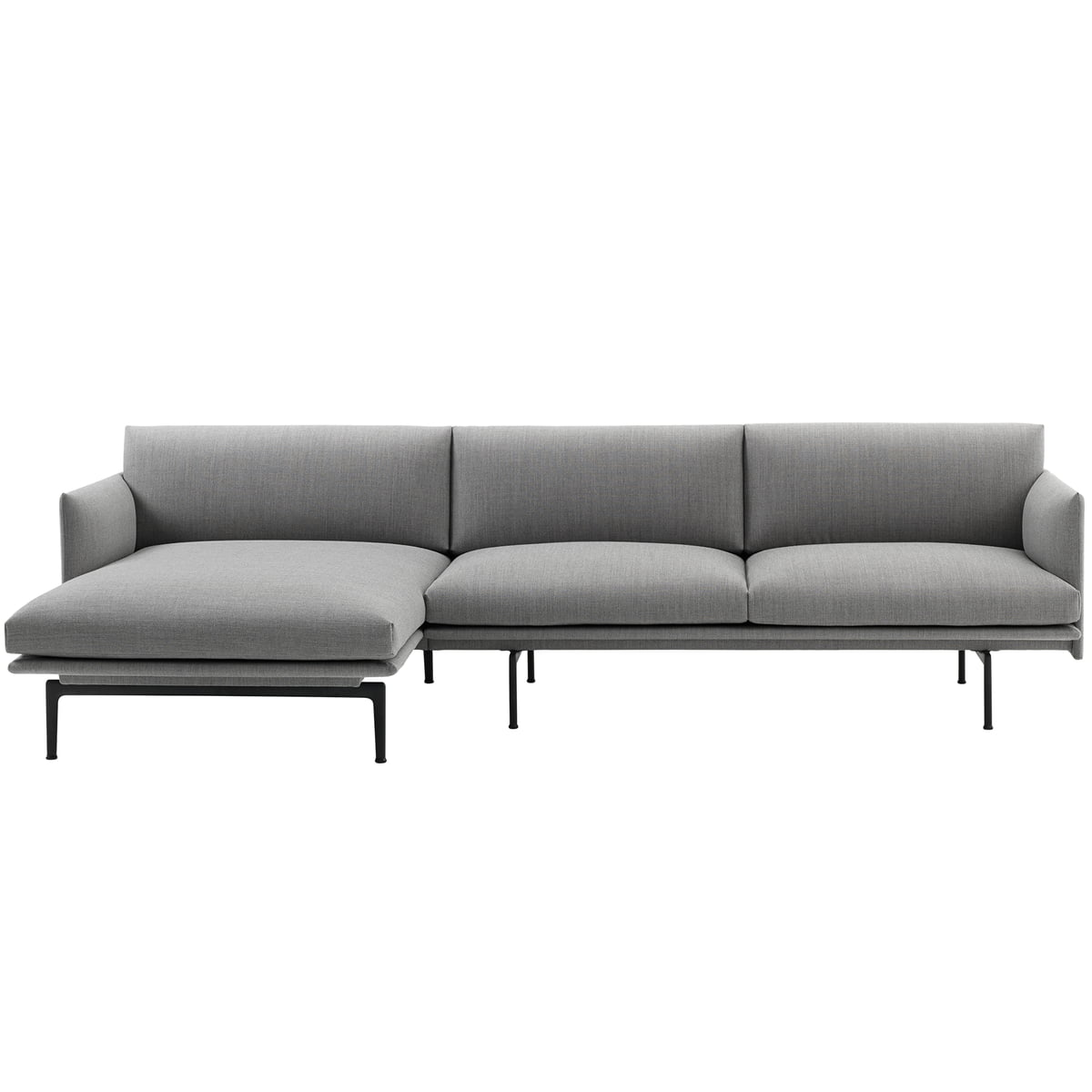 Muuto outline 3er ecksofa links grau fiord 151 for Ecksofa grau klein