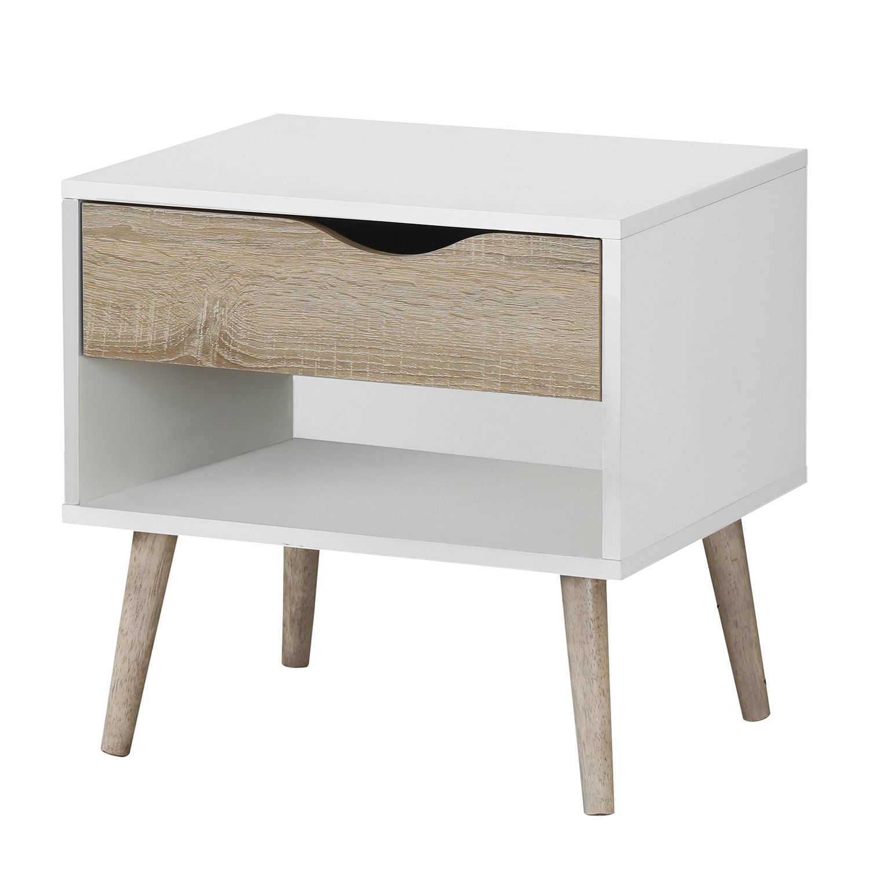 nachtkommode sunndal i gummibaum teilmassiv wei eiche hell morteens online kaufen bei woonio. Black Bedroom Furniture Sets. Home Design Ideas