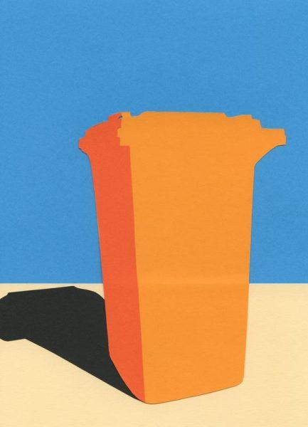 Orange Garbage Bin Leinwandbild