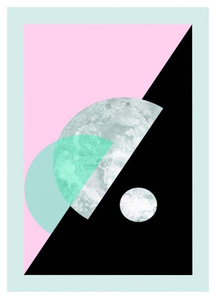 Pastel Moon Geometric Leinwandbild