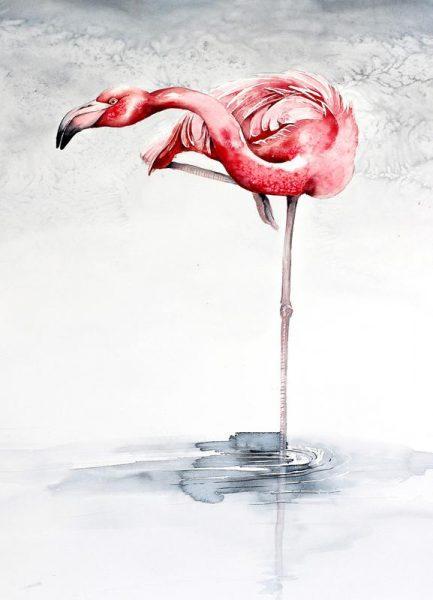 Pink Flamingo Leinwandbild