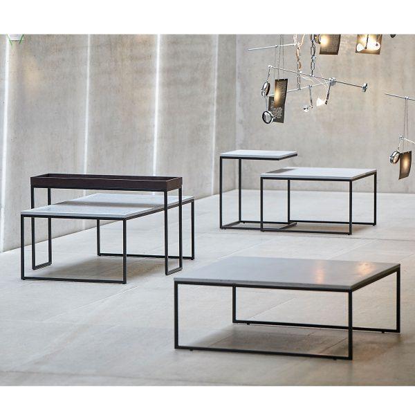Pizzo Beton Beistelltisch mit Edelstahlgestell 110 x 60 cm