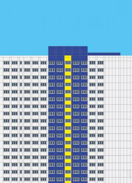 Plattenbau Blau Leinwandbild