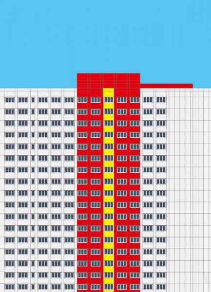 Plattenbau Rot Leinwandbild