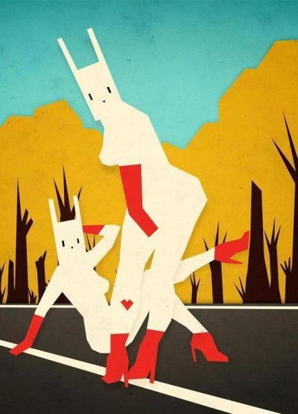 Roadside bunnies Leinwandbild