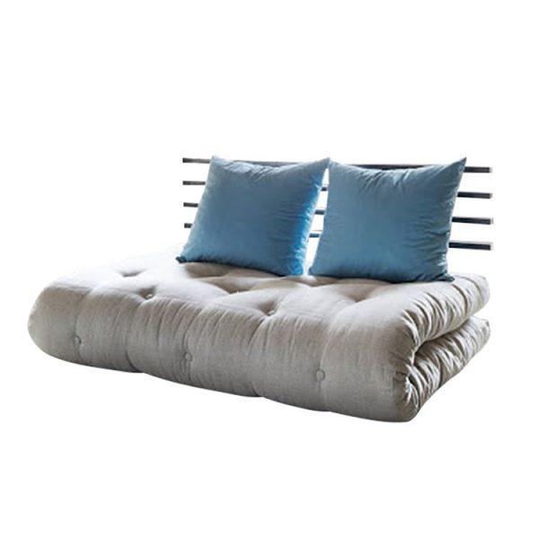 Schlafsofa Shin Sano - Futon Beige/Blau - Matratze 6 Lagen Baumwolle + 4 cm Schaumstoff