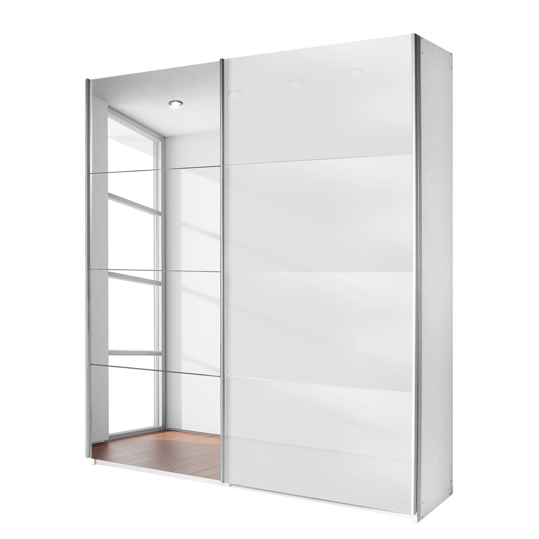Schwebetürenschrank Quadra (Spiegel) - Alpinweiß / Glas Weiß ...