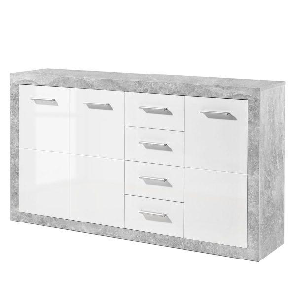 Sideboard Rognan II - Weiß / Beton Dekor