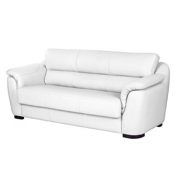Sofa Alzira (3-Sitzer) - Kunstleder - Mit Schlaffunktion - Weiß