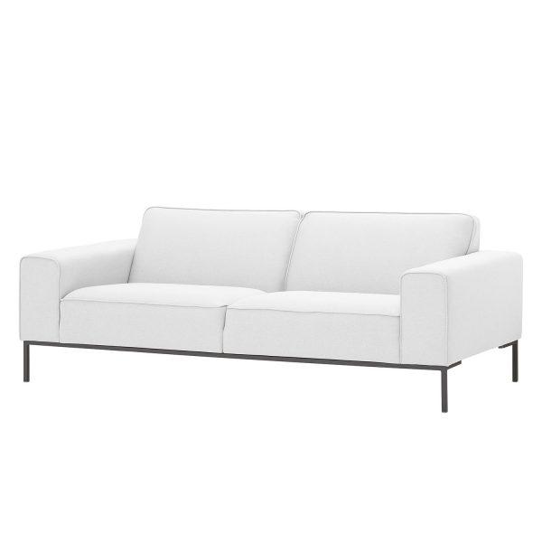 Sofa Ampio (3-Sitzer) Webstoff - Grau - Stoff Floreana Weiß