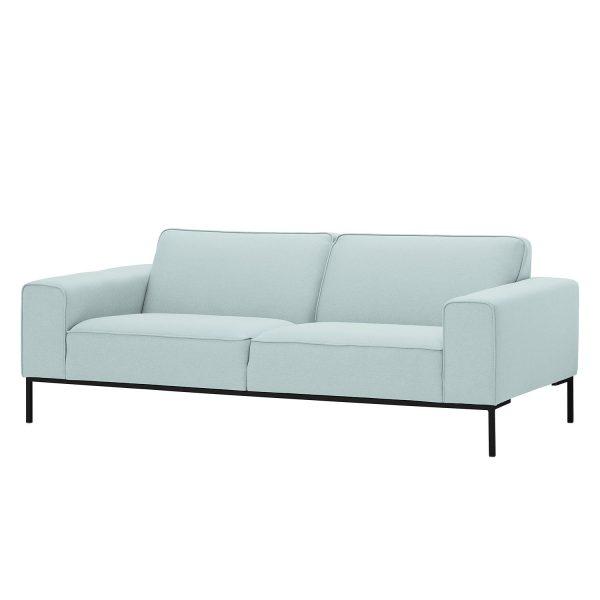 Sofa Ampio (3-Sitzer) Webstoff - Schwarz - Stoff Floreana Mintgrün