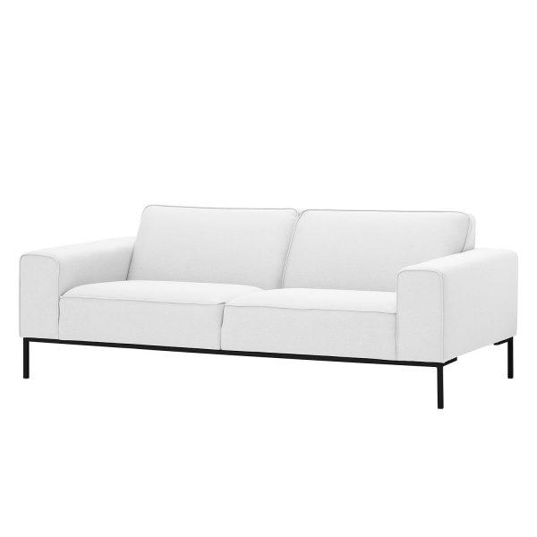Sofa Ampio (3-Sitzer) Webstoff - Schwarz - Stoff Floreana Weiß
