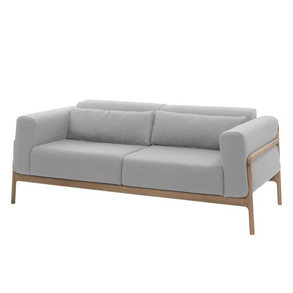 Sofa Fawn (2-Sitzer) Webstoff - Eiche Hell - Stoff Ever Grau-Beige