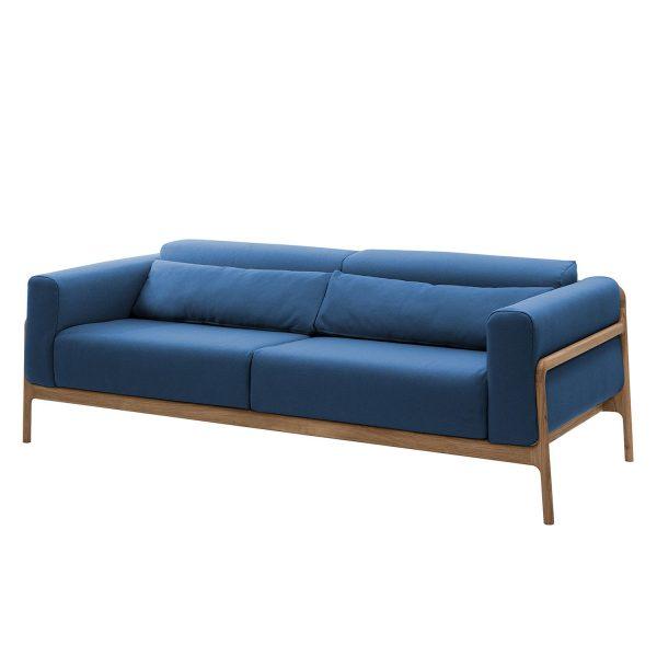Sofa Fawn (3-Sitzer) Webstoff - Eiche - Stoff Ever Dunkelblau