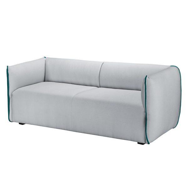 Sofa Grady II (3-Sitzer) - Webstoff - Hellgrau / Türkis