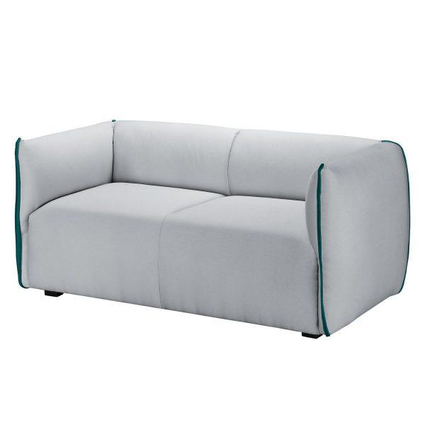 Sofa Grady Webstoff II (2-Sitzer) - Hellgrau / Türkis