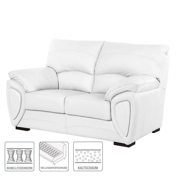 Sofa Luzzi (2-Sitzer) - Kunstleder - Weiß