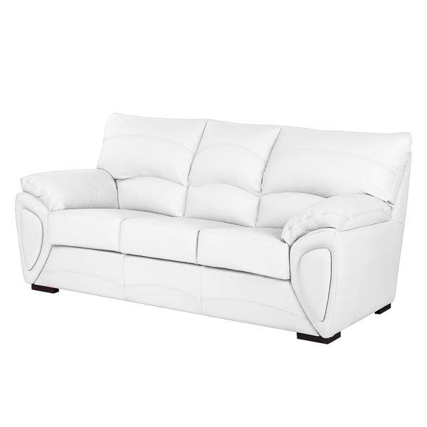 Sofa Luzzi (3-Sitzer) - Kunstleder - Mit Schlaffunktion - Weiß