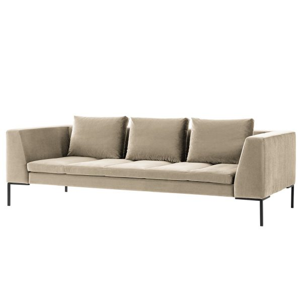 Sofa Madison (3-Sitzer) Samt - Stoff Shyla Beige