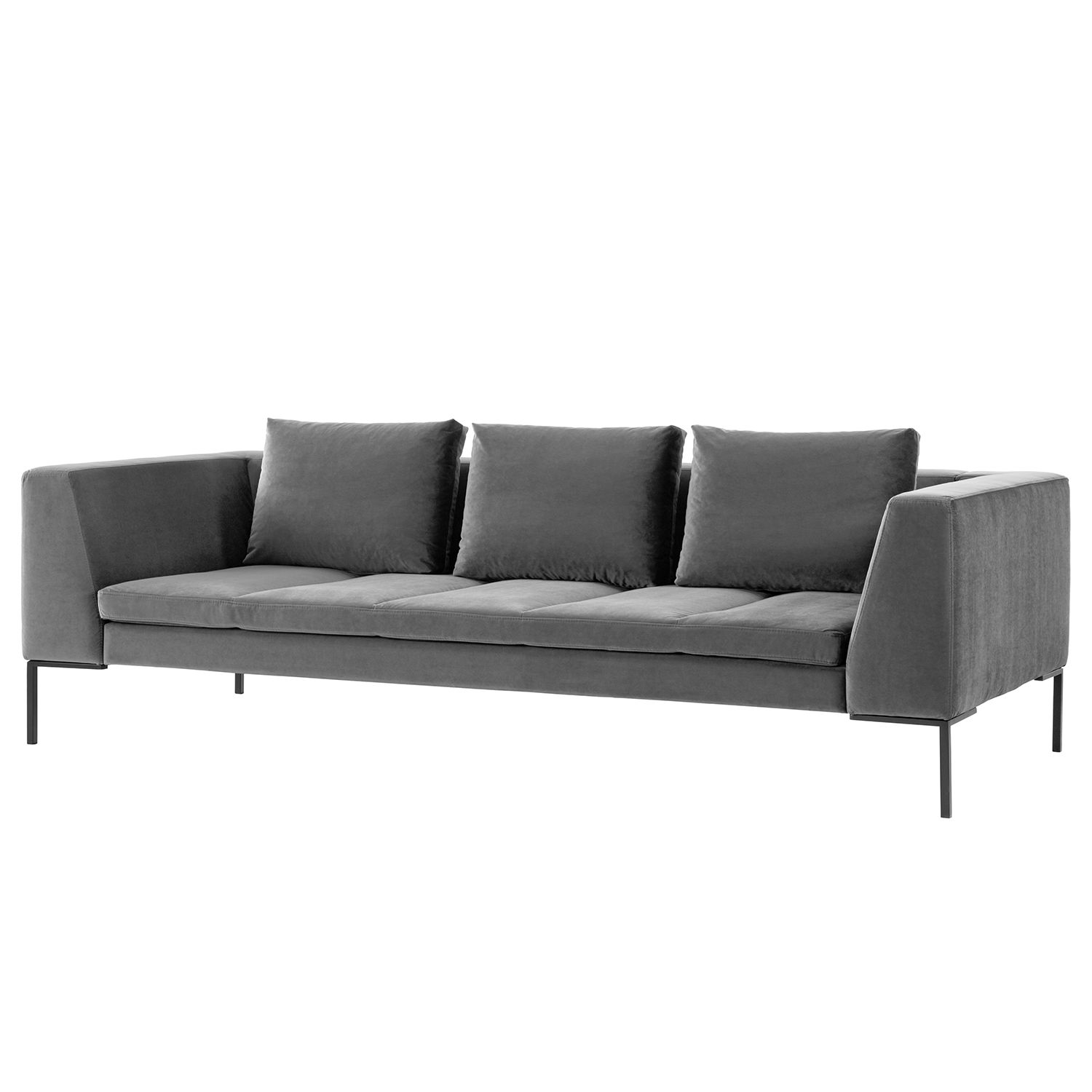 sofa madison 3 sitzer samt stoff shyla grau studio. Black Bedroom Furniture Sets. Home Design Ideas