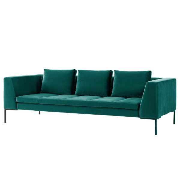 Sofa Madison (3-Sitzer) Samt - Stoff Shyla Petrol