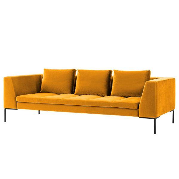 Sofa Madison (3-Sitzer) Samt - Stoff Shyla Senfgelb