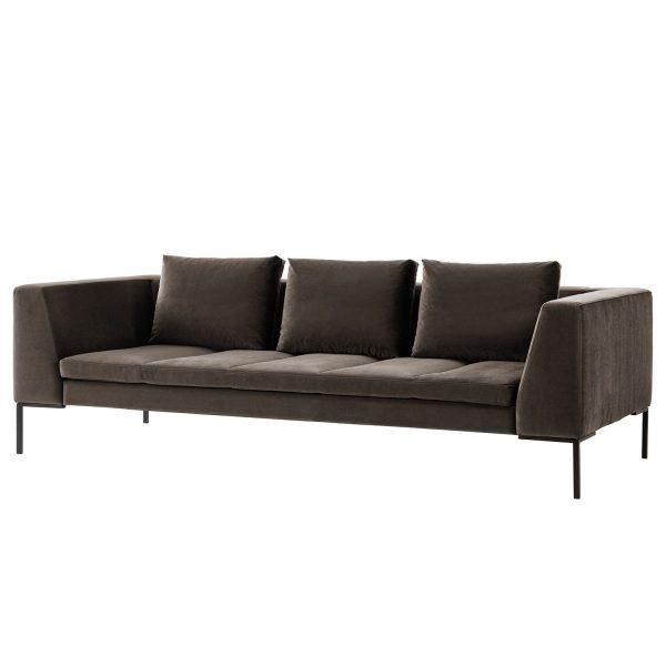 Sofa Madison (3-Sitzer) Samt - Stoff Shyla Taupe