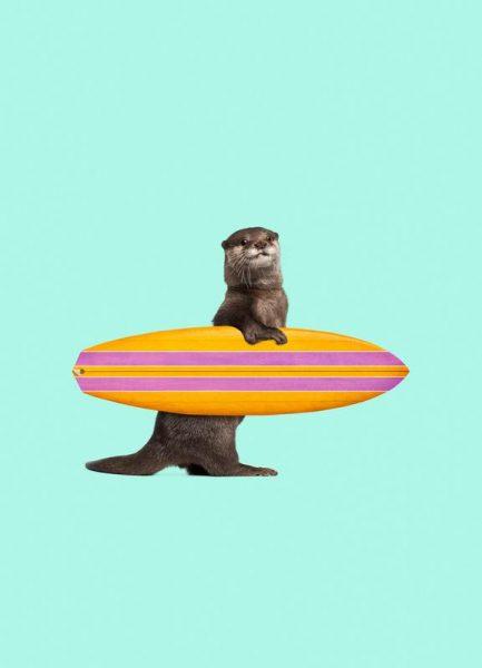 Surfing Otter Leinwandbild