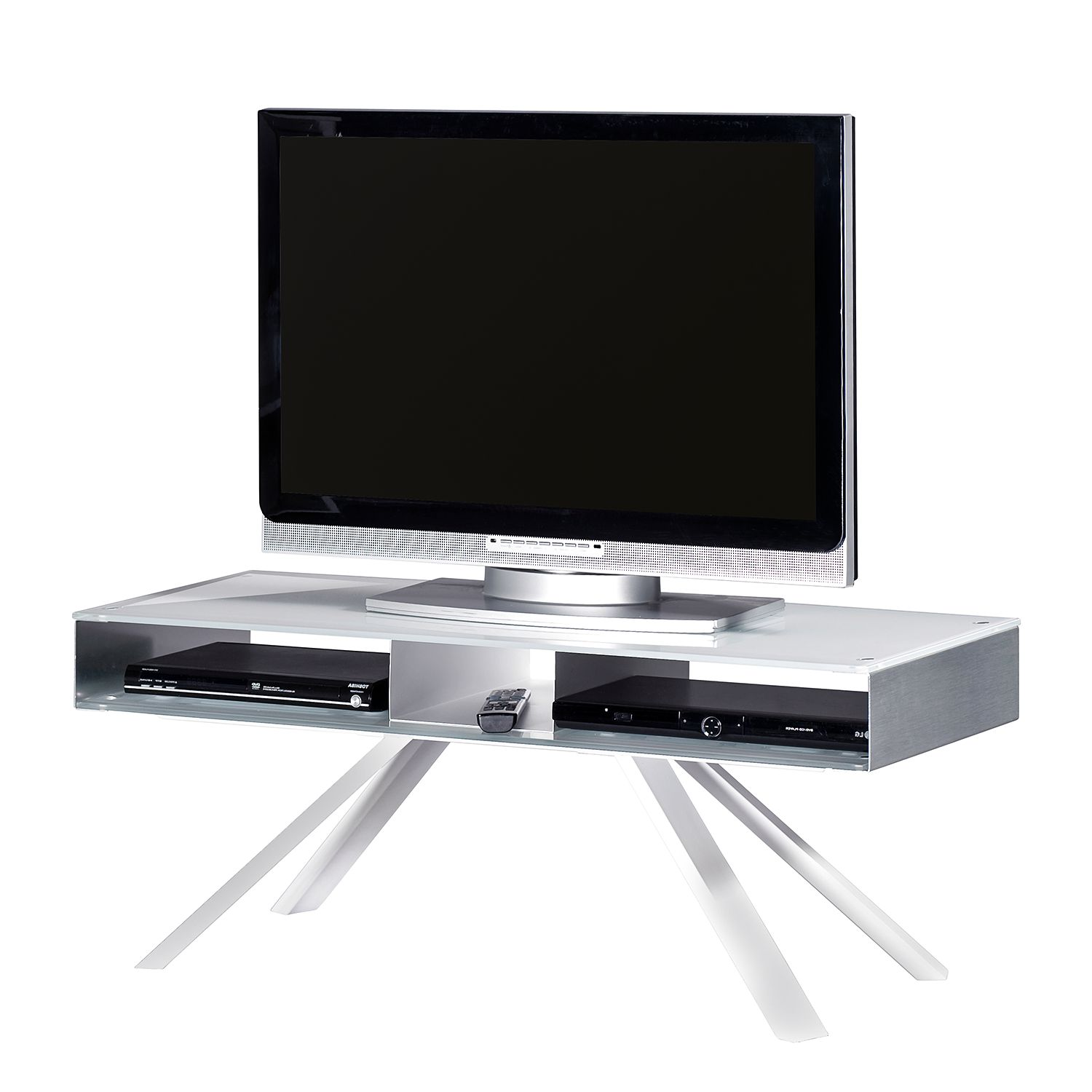 tv lowboard smart tv glas aluminium wei silber. Black Bedroom Furniture Sets. Home Design Ideas