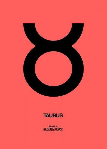 Taurus Zodiac Sign Black Leinwandbild
