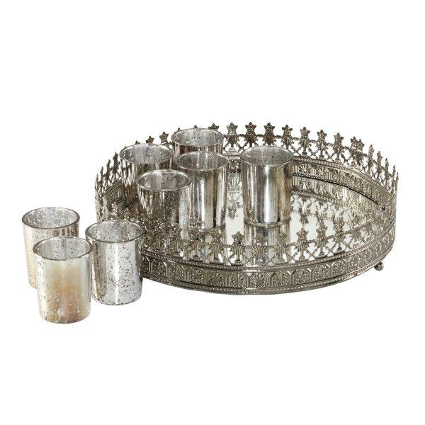 Teelichttablett 9-teilig - Metall/Glas - Silber