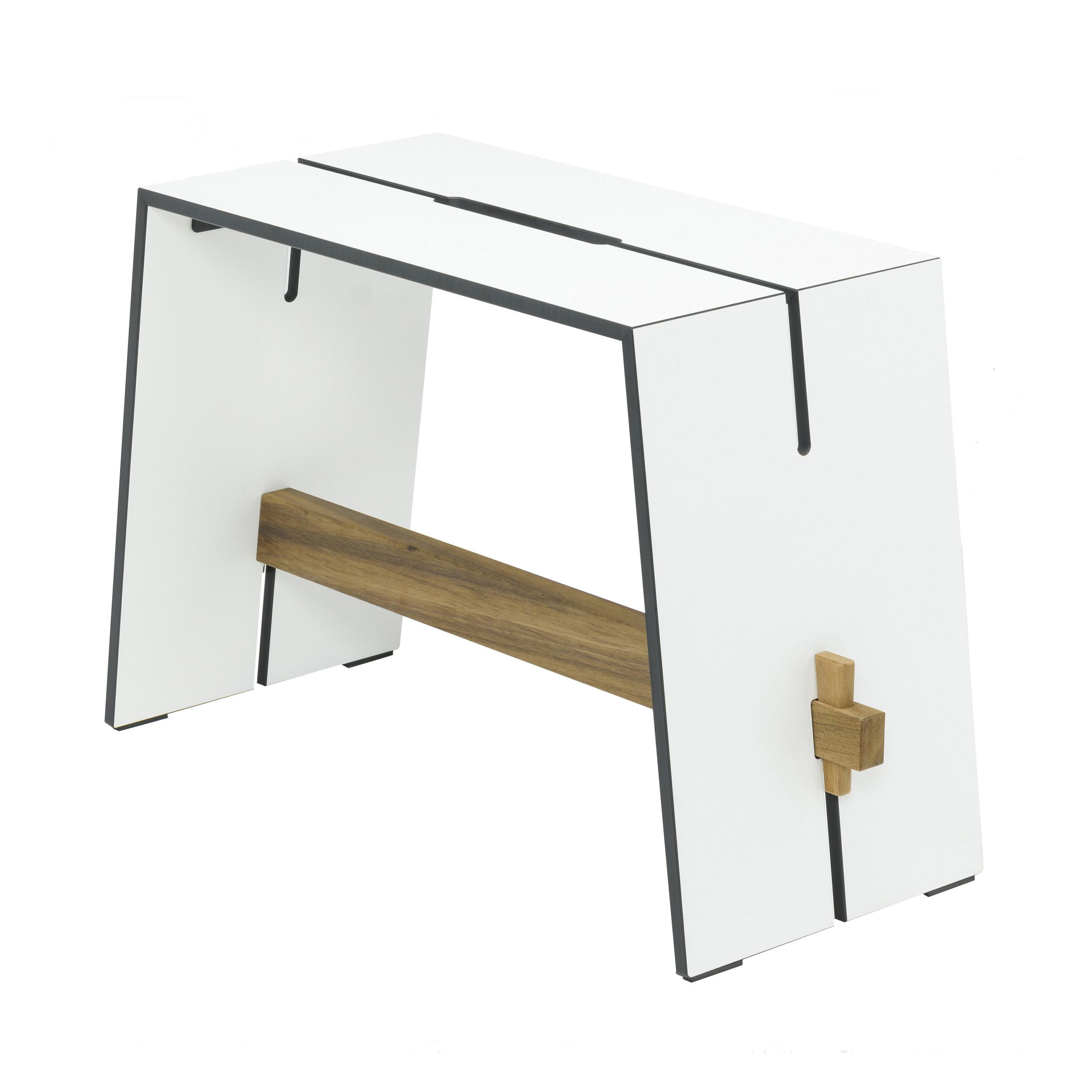 tension hocker und beistelltisch 3er set hpl teak wei. Black Bedroom Furniture Sets. Home Design Ideas