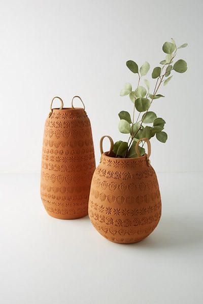 Terrakotta-Vase mit Prägung - Brown44346138EU