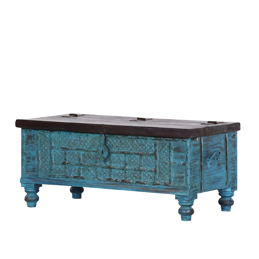 truhe watergate mango massiv recycled altholz t rkis blau red living online kaufen bei woonio. Black Bedroom Furniture Sets. Home Design Ideas