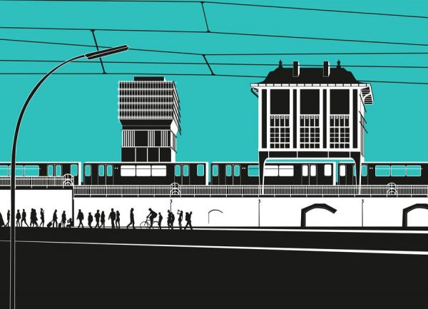 U Bahnhof Warschauer Straße Leinwandbild