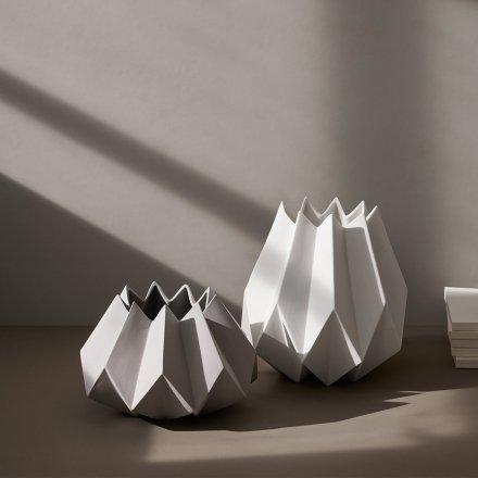 Vase Folded White weiß Keramik