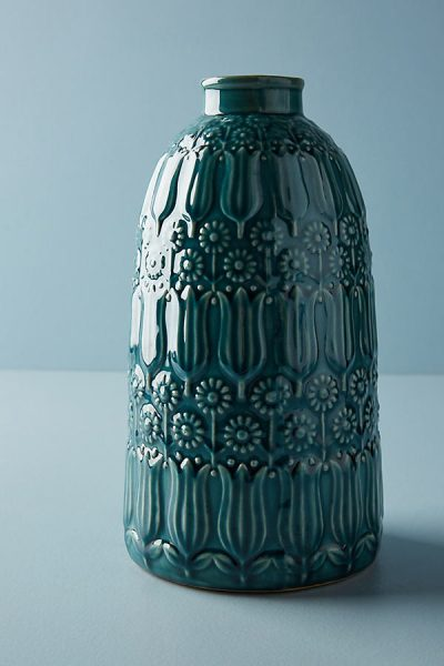 Vase mit Blumenprägung - Blue Green44342541EU