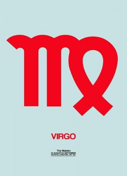 Virgo Zodiac Sign Red Leinwandbild