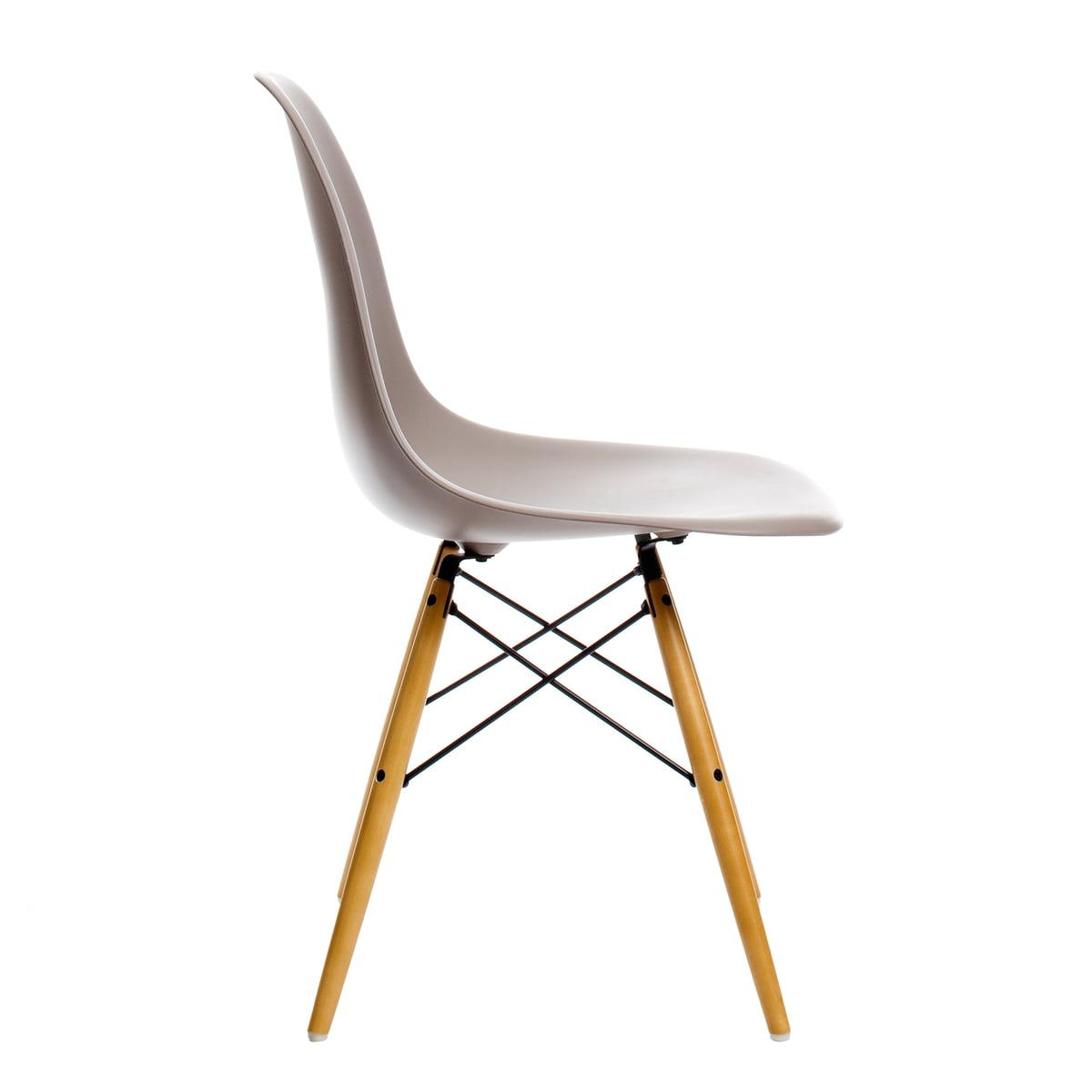vitra eames plastic side chair dsw h 43 cm ahorn gelblich mauve grau kunststoffgleiter. Black Bedroom Furniture Sets. Home Design Ideas