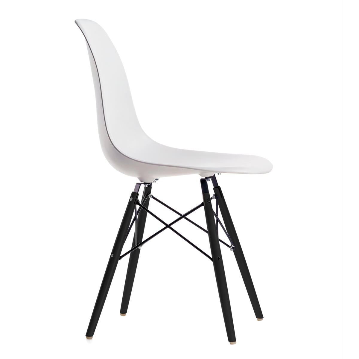 vitra eames plastic side chair dsw h 43 cm ahorn schwarz wei kunststoffgleiter basic. Black Bedroom Furniture Sets. Home Design Ideas