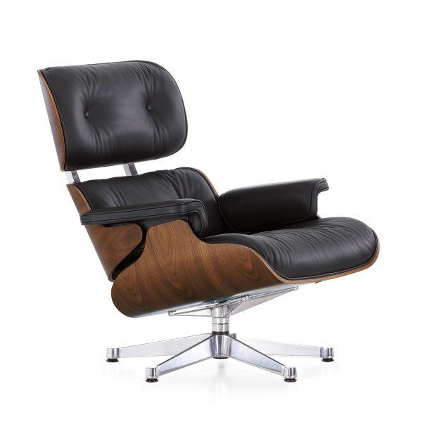 vitra lounge chair verchromt nussbaum klassisch nussbaum schwarz pigmentiert t 91 h 84 b. Black Bedroom Furniture Sets. Home Design Ideas