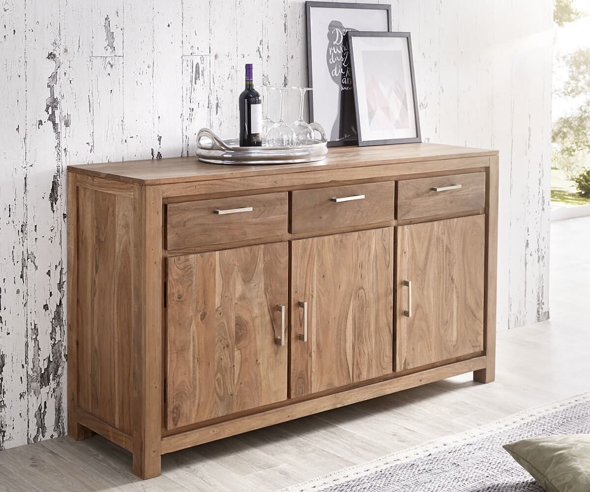 wolf m bel sideboard creed 150 cm akazie stone 3 t ren 3 sch be sideboards 12061 online kaufen. Black Bedroom Furniture Sets. Home Design Ideas
