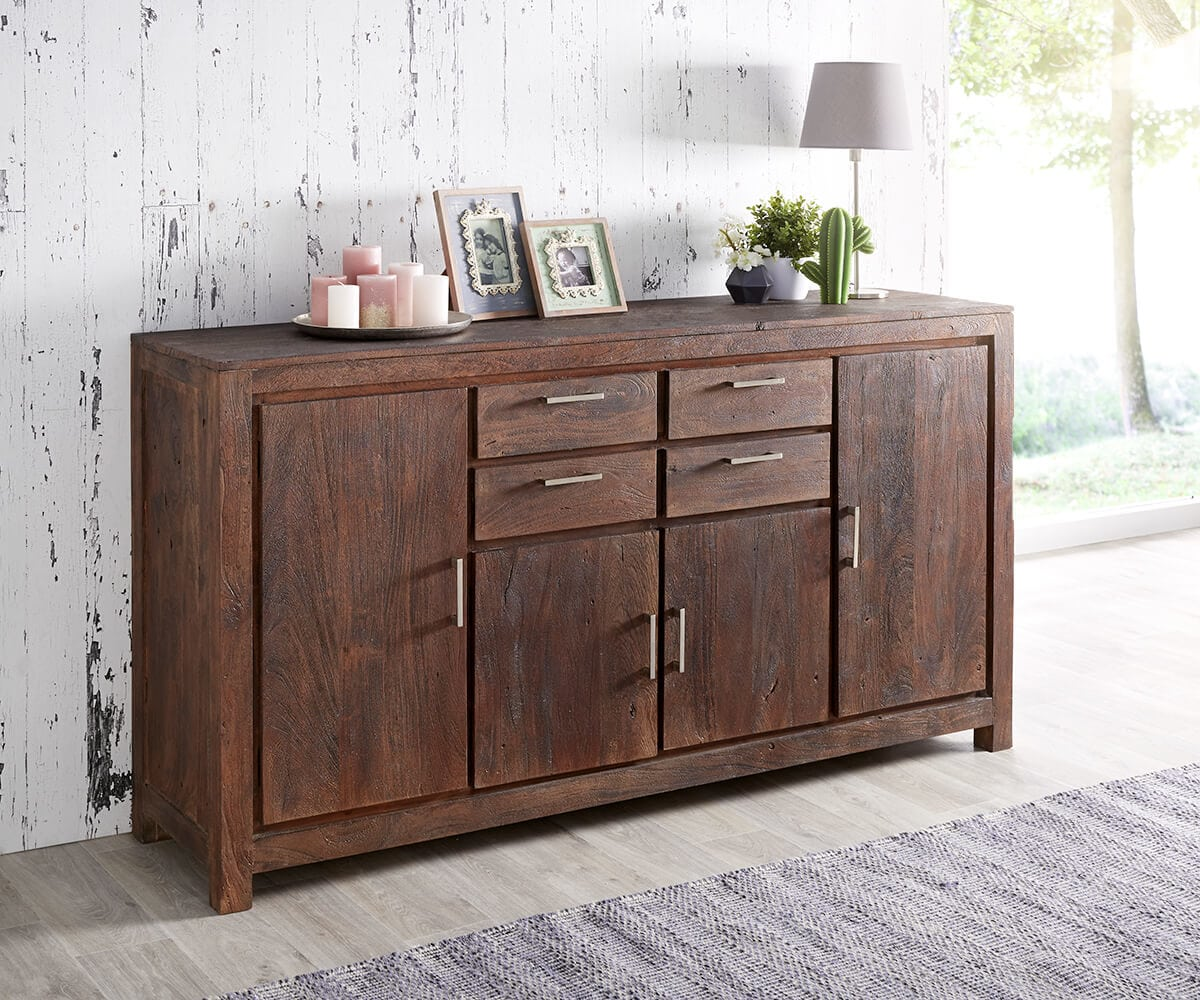 wolf m bel sideboard creed 180 cm akazie tabak 4 t ren 4 schubladen sideboards 12078 online. Black Bedroom Furniture Sets. Home Design Ideas