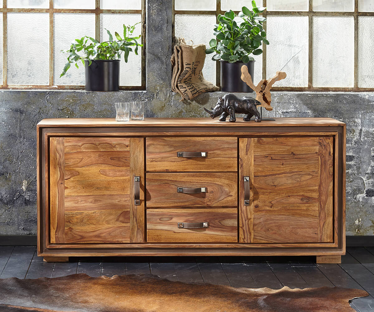 wolf m bel sideboard shan 175 sheesham shina 3 schubladen 2 t ren sideboards 12023 online. Black Bedroom Furniture Sets. Home Design Ideas